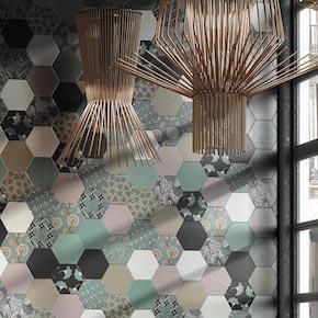 Carrelage hexagonal, imitation tomette provençale et contemporain pour sol et de salle de bains, cuisine et salon et mur au format 15x15 cm.